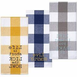 Cotton Flour Sack Kitchen Towels, Embroidered Baking Theme,