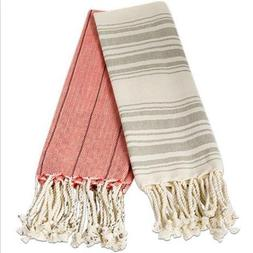 Tag All Cotton Fringe Stripe Hand Towels Loomed Home Bathroo