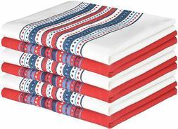 Premium Cotton Kitchen Dish Towels 6-Pack 16x26 Dish Cloths,