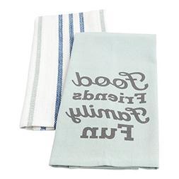 Hallmark Home Cotton Kitchen Tea Towels , Food Friends Famil