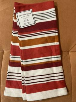 """Luxe Cotton Kitchen Towels Set Of 2 - 18""""x29"""" Striped Ivor"""
