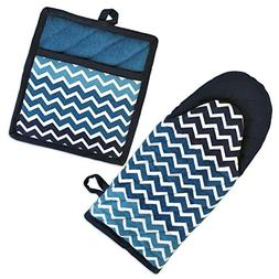 "DII Cotton Ombre Chevron Oven Mitt 13 x 6"" and Pot Holder 8"