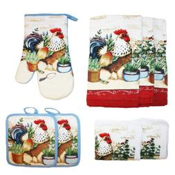 Cotton Printed Kitchen Dish Towels, Pot Holder and Oven Mitt