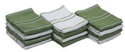 """Cotton Ribbed Terry Dish Cloths, 13x13"""" Set of 12, Absorbent"""