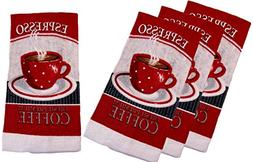 100% Cotton Kitchen Towel Sets - Espresso Coffee Cups