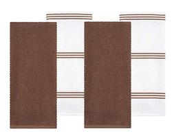 Sticky Toffee Cotton Terry Kitchen Dish Towel, Brown, 4 Pack
