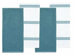 Sticky Toffee Cotton Terry Kitchen Dish Towel, Blue, 4 Pack,