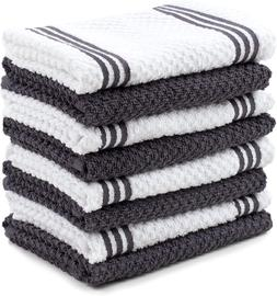 Cotton Terry Kitchen Dishcloth, 8 Pack, 12 in x 12 in, Gray