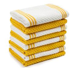 Sticky Toffee Cotton Terry Kitchen Dishcloth, Yellow, 8 Pack
