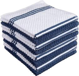 Sticky Toffee Cotton Terry Kitchen Dishcloth, Dark Blue, 8 P