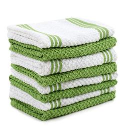 Sticky Toffee Cotton Terry Kitchen Dishcloth, Green, 8 Pack,