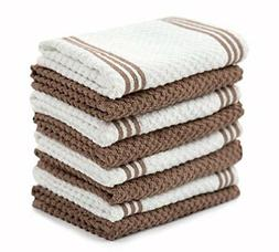 Sticky Toffee Cotton Terry Kitchen Dishcloth, Brown, 8 Pack,