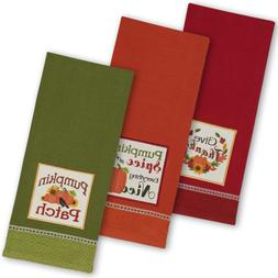 "DII Cotton Thanksgiving Holiday Dish Towels, 18x28"" Set of 3"