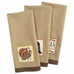 DII Cotton Thanksgiving Holiday Dish Towels, 18x28 Set of 3,