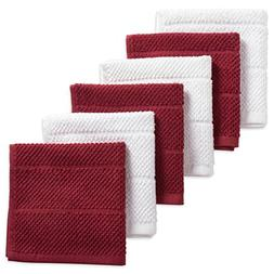"DII Cotton Luxury Chef Terry Dish Cloths, 12 x 12"" Set of 6,"