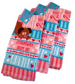 100% Cotton Valentines Dish Towels - Dogs Leave Pawprints on