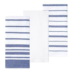 Sticky Toffee Cotton Waffle Weave Kitchen Dish Towels, Blue,