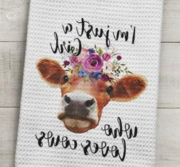 Cow Kitchen Waffle Weave Towel Girl who loves cows