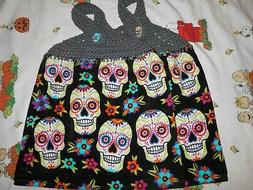"CROCHET TOP HALLOWEEN ""SUGAR SKULLS"" DESIGN HANGING KITCHEN"