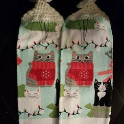 CROCHET TOP HANGING KITCHEN TOWELS    CATS