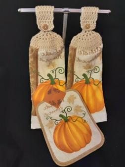 "Crochet Top Kitchen Towels and Pot Holder ~ ""Celebrate Harve"