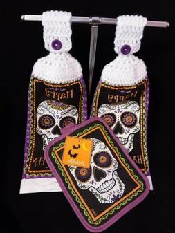 """Crochet Top Kitchen Towels and Pot Holder ~ """"Happy Halloween"""