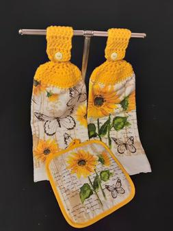 Crochet Top Kitchen Towels and Pot Holder ~ Sunflowers and B