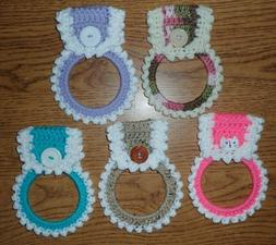 Crocheted Kitchen Towel Rings, You Pick Design, Handmade