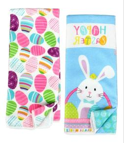 CUTE! Easter Set of Dish Hand Towels Kitchen Eggs Easter Bun