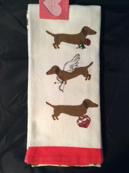 ENVOGUE Pink//Red Love DACHSHUND dog Valentine Heart KITCHEN Dish Towels