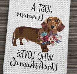 Dachshund Doxie Dog Kitchen Waffle Weave Towel