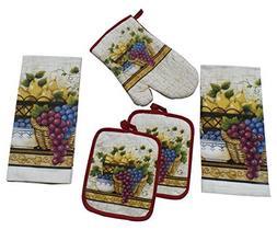 Dark Grapes Value Pack 5 Piece Kitchen Set 2 Towels 2 Pot Ho