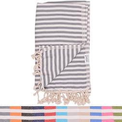 Dark Grey Striped Turkish Towel - Naturally Dyed 100% Cotton
