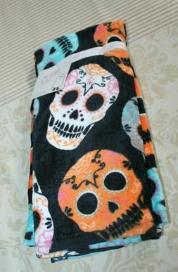 Day of the Dead black, orange -2 in set-  kitchen towels   c