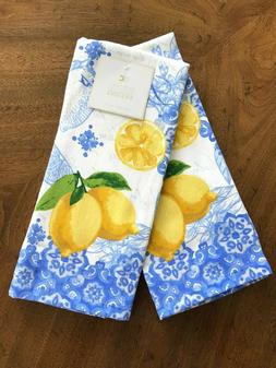 NEW WILLIAMS SONOMA KITCHEN TOWELS MEYER LEMON KITCHEN TOWELS SET OF 2