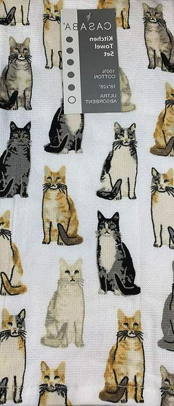 Decorative Absorbent Kitchen Towels Assorted Cats 100% Cotto