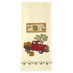 Decorative Dish Towel Red Truck Apples Cream Flour Sack Cott