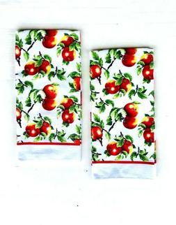 Decorative Kitchen Dish Hand Towels Apple Print 15 x 25 Set