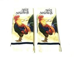 2 Kitchen Hand Dish Towels Rise & Shine Rooster Print New 15
