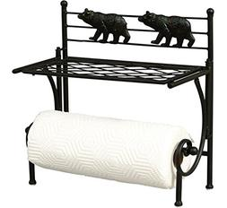 Decorative Paper Towel Holder Wall Mount - Bear Design Black