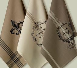 Design Imports FRENCH GRAIN SACK Printed Cotton Kitchen Towe