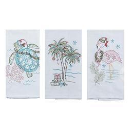 Kay Dee Designs Coastal Holiday Embroidered Flour Sack Towel
