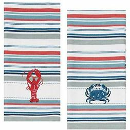 "Designs Dish Cloths & Towels Lobster "" Crab Stripe Embroider"