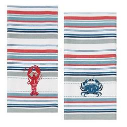 Kay Dee Designs Lobster & Crab Stripe Embroidered Towel Set