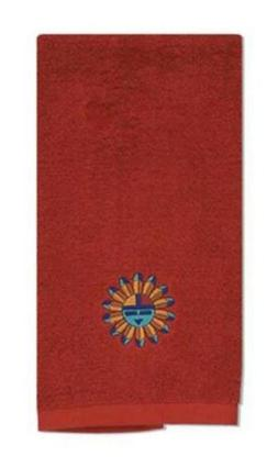 Simply Southwest Embroidered Sun Deep Red Kitchen Terry Towe