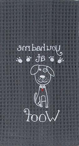 Kay Dee Designs F0778 Woof Embroidered Waffle Towel