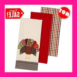 """DII Cotton Thanksgiving Holiday Dish Towels, 18x28"""" Set of 3"""