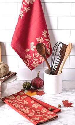 DII Set of Jacquard 'Harvest Vine' Kitchen Towels,100% Cotto