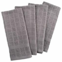 Design Imports DII Solid Gray Windowpane Terry Dishtowel