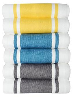 Tiny Break Dish Kitchen Towels Vintage Striped 100% Cotton T